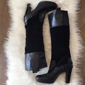 Tod's Black Leather/Suede High Heels Boots